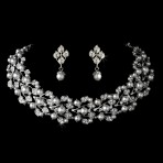Silver and White Pearl Necklace and Earring Set  STJS-969